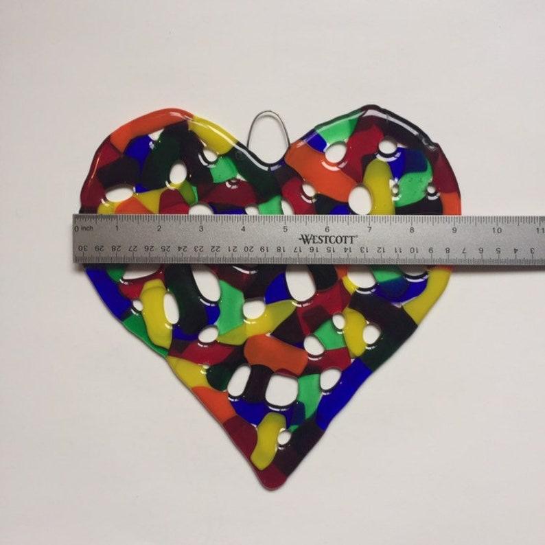 Rainbow Coral Fused Glass Heart Wall Art LGBTQ Heart Rainbow Sun Catcher Glass Garden Art Colorful Glass Heart Decor New Home Gift