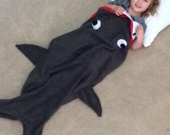 Monogtammed Youth Shark Fleece Blanket/ Sleeping Bag