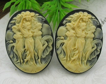 4 pcs  Vintage Three Dancing  Ladies Iory On Black  Cameo, 30 x 40 mm