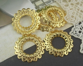 20%off  2pcs Gold Plated  Round  Filigree, 30mm