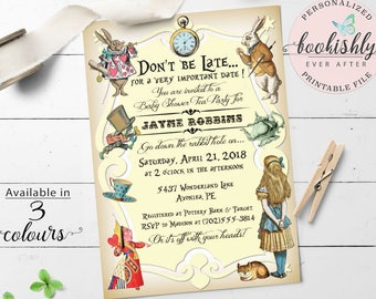Alice in Wonderland Invitation Printable, Alice in Wonderland Baby Shower Invitation, Tea Party Invitation by Bookishly Ever After, BEA101