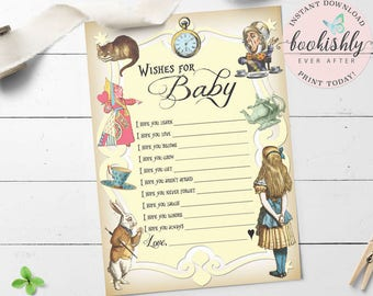 Alice in Wonderland Price is Right Game Card Baby Shower Game