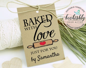 Baked With Love Tags, Baking Favor Labels, Cookie Favor Tags, Printable Baking Tags, Editable Template by Bookishly Ever After, BEA615