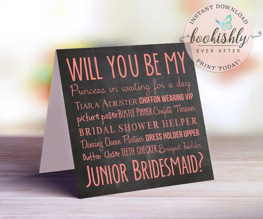 Will You Be My Junior Bridesmaid Card Pink Chalkboard
