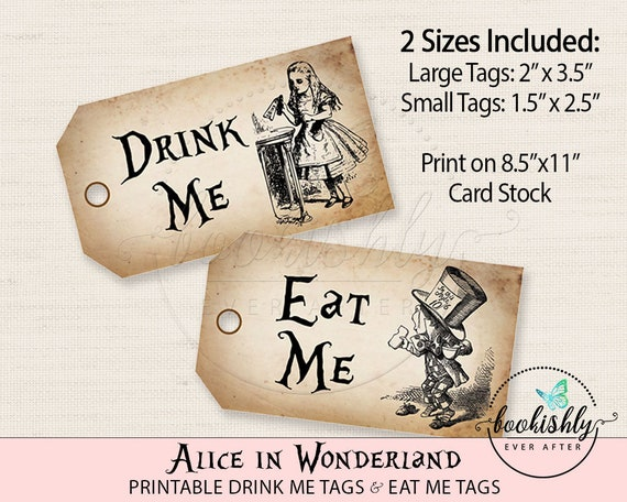 Alice In Wonderland Tags Drink Me Tag Eat Tea Party
