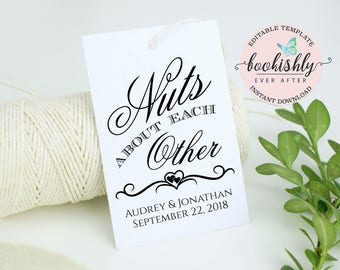Nuts About Each Other Tag, PRINTABLE Wedding Favor Tag, Bridal Shower Gift Tag, Almond Favor Tag, Editable Tag Template DOWNLOAD, BEA614