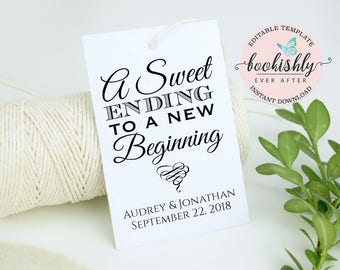 PRINTABLE Wedding Favor Tag, A Sweet Ending to a New Beginning Tag, EDITABLE Wedding Thank You Tag, Candy Label, 2x3 Download, BEA612