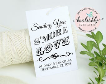 S'more Love Tag Template, EDITABLE Wedding Tag, PRINTABLE Wedding Favor Tag, Wedding Thank You Tag, Christmas Cookie Tag Download, BEA611