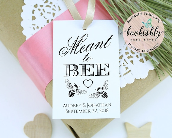 meant to bee tags editable wedding tag template wedding etsy