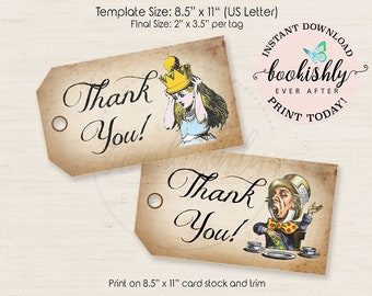 Alice in Wonderland Tag, Mad Hatter Tag, Thank You Tag, Tea Party Tag, PRINTABLE Vintage Alice Party Favor Tag, Digital Collage Sheet BEA114