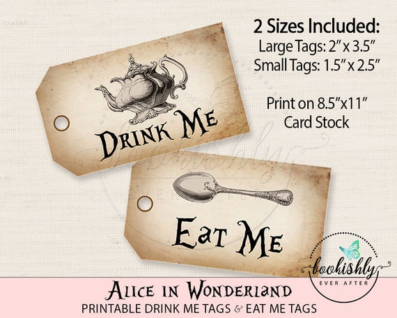 Alice In Wonderland Tags Eat Me Tag Drink Tea Party