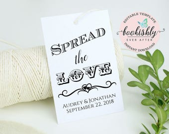 Spread the Love Tag, Editable Wedding Tag Template, PRINTABLE Wedding Favor Tags, Honey Favor Tag, Thank You Tag, 2x3 DOWNLOAD, BEA604