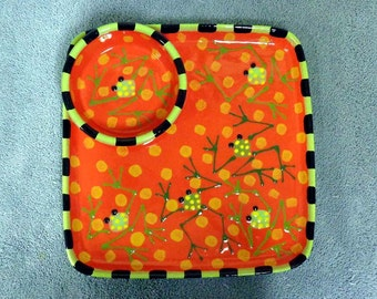 Red Orange Frog Chip and Dip Pottery Ceramic Plate Made to Order