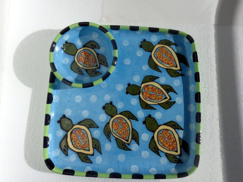 Sea Turtle Hand Made Pottery Ceramic Chip and Dip Plate