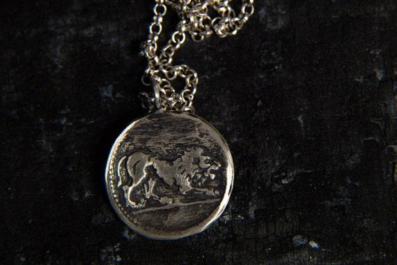 Lion Pendant Necklace-Sterling Silver Lion Head Pendant-Ancient Greek Coin Pendant-Replica Coin Necklace-Lion Jewellery