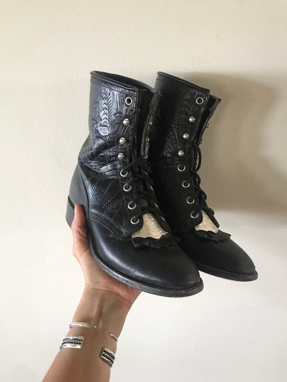 Rare Black Leather Tooled Lace-Up Boots size 7.5
