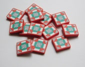Quilt Block Charms, polymer clay tiles for jewelry or buttons, churn dash