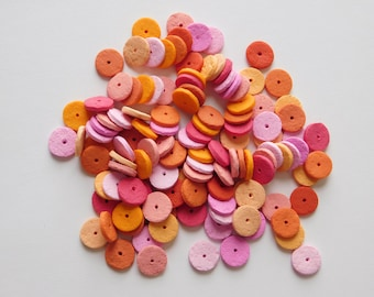 Polymer Clay Disc Beads, pink and orange spacer beads, set of 120