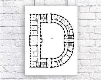 Large Letter Monogram Initial Architecture Blueprint Art Print Black and White Alphabet Personalized