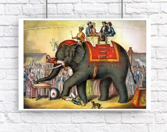 Elephant Circus Victorian Large Vintage Style Art Print Carnival Zoo Grey Red