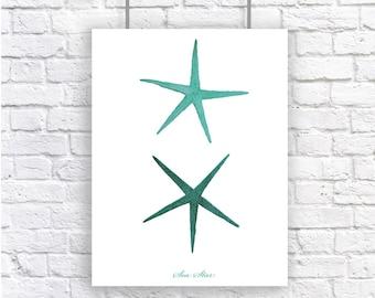Starfish Sea Star Mint Green Large Nautical Art Print Natural History Beach House Decor Aqua