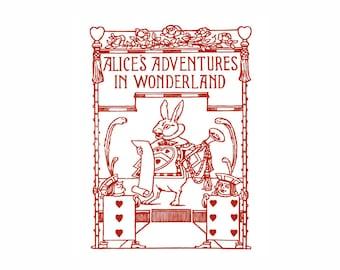 Alice in Wonderland White Rabbit Vintage Art Print Red and White Lewis Carroll Nursery