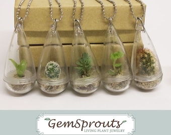 Holiday Sale - Wearable Plant - Secret Suprise Droplet GemSprout Pendant