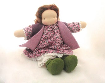 "16"" Waldorf doll //  natural fiber // brunette doll // girl doll // waldorf toy // steiner doll // cuddle doll // cloth doll // textile doll"