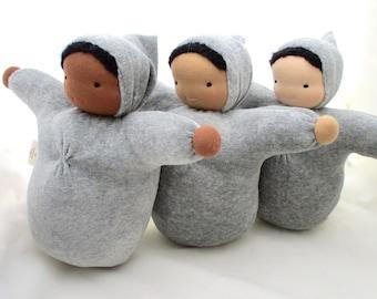 Waldorf  Baby Doll  Grey // ecofriendly toy // natural fiber baby // cloth doll // waldorf toy // cuddle doll  // soft doll //  CDLG