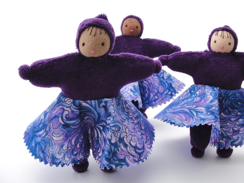 Purple Dollhouse Doll waldorf toy natural fiber little one image 0