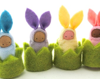 Easter bunny in a cozy // waldorf toy // little rabbit  // bunnies easter basket favor // CHEB