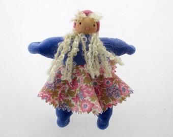 Periwinkle Blue Dollhouse Doll P, peach skin, waldorf toy, natural fiber, little one, pocket doll, girl doll, soft doll, cloth doll