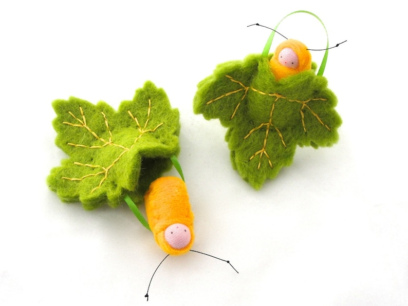 Leaf ornament // caterpillar baby // waldorf decor //spring image 0