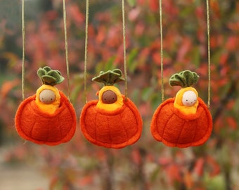Baby in a Pumpkin Necklace // Halloween Baby Doll // Waldorf toy // Autumn Gift // Fall