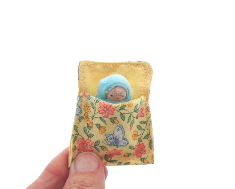 Baby Doll in a Bed // aqua peanut baby // waldorf toy // image 0