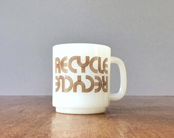 """Vintage Milk Glass / Milkglass """"Recycle"""" Mug / Cup 70's Font / Typeface Four (4) Available"""