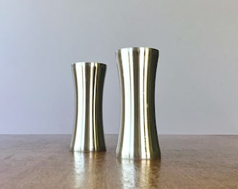 Large Mid Century Foley Stainless Steel Salt and Pepper Shakers Atomic / Danish Modern Styling