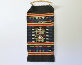 Vintage Mexican / Central American - Black Cotton Embroidered Tablecloth / Runner / Wall Hanging