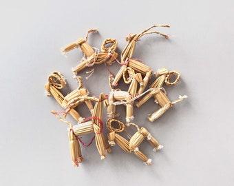 Lot of Seven (7) Vintage Swedish / Scandinavian Style Straw Christmas / Yule Goat Holiday Tree Ornaments