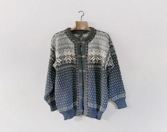 Vintage Setesdal Dale of Norway / Norwegian Wool Cardigan Sweater Men's Large Blue / Gray