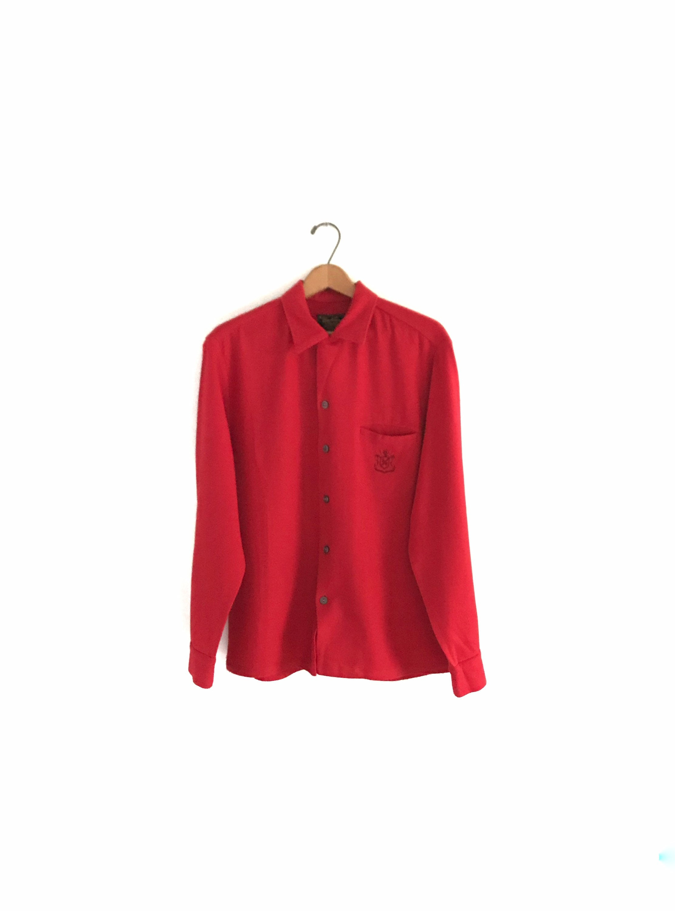 1950s Men's Ties, Bow Ties – Vintage, Skinny, Knit Vintage Circa 1950s Sportsman Long Sleeved Red Wool Button Down Shirt Mens Medium With Crest $30.00 AT vintagedancer.com
