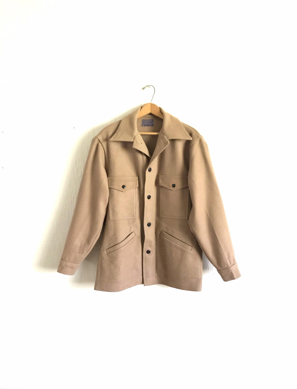 1960s – 70s Men's Ties | Skinny Ties, Slim Ties Vintage Mens Medium Pendleton Solid Tan Wool Coat Jacket Mackinaw Cruiser As-Is Condition $40.00 AT vintagedancer.com