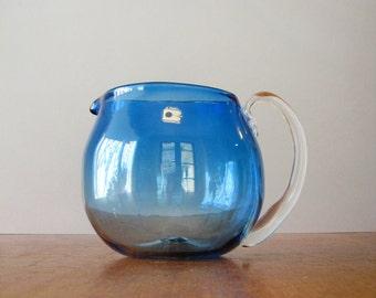 "Vintage Blenko Modernist Glass ""Koolaid"" Pitcher Blue 6916"