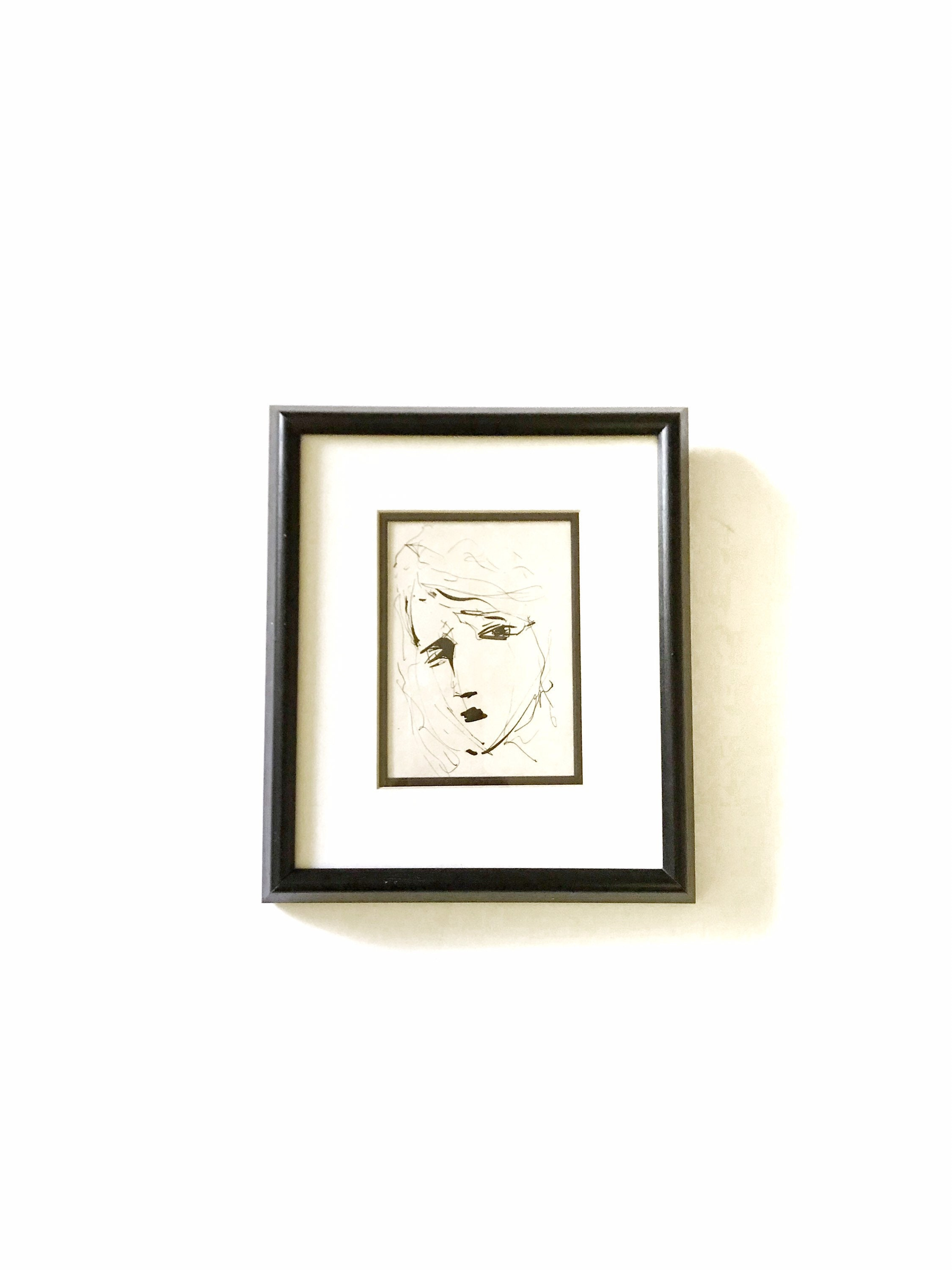 Vintage Framed India Ink Drawing Painting Black and White Flapper Girl Woman Portrait