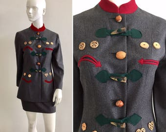 """Iconic Moschino Cheap & Chic """"Nuts About You"""" Smiley Face Skirt Suit"""