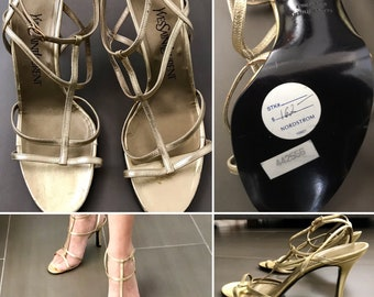 58966fc014f Never Worn Vintage 1990s Yves Saint Laurent Gold Strappy Sandals NWT