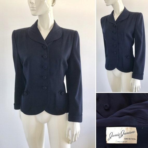 Vintage 1940s Janie Juniors Original Navy Blazer w