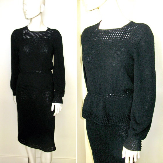 Vintage 1940s 1950s Black Knit Skirt and Top Set w