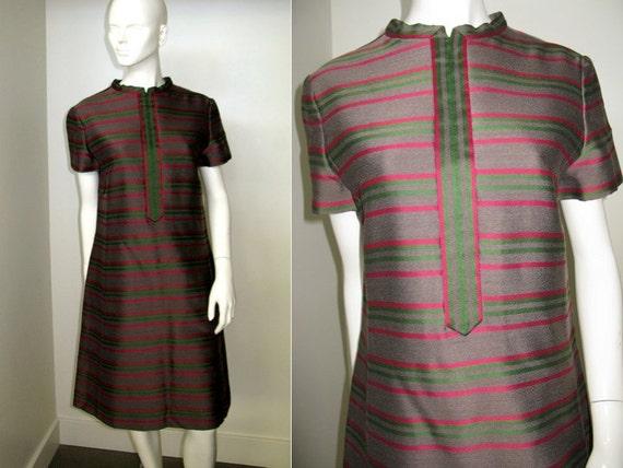 Vintage 1960s Mollie Parnis Mod Striped Dress