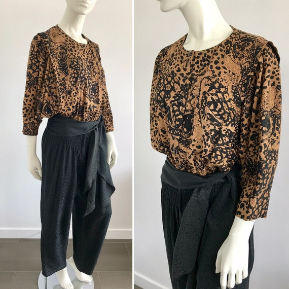 Vintage 1980s Nora Noh Silk Jumpsuit with Wild Cat